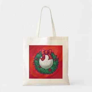 Golf Ball Christmas Wreath on Red Tote Bag