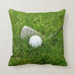 Golf Ball, Club, Iron and Green Grass Pillow
