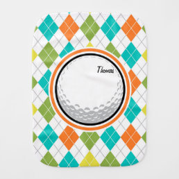 Golf Ball; Colorful Argyle Pattern Baby Burp Cloth