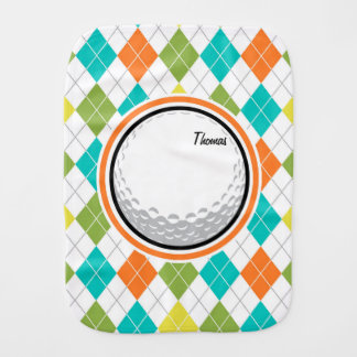 Golf Ball; Colorful Argyle Pattern Baby Burp Cloth