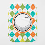 Golf Ball; Colorful Argyle Pattern Burp Cloth