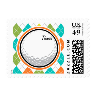 Golf Ball; Colorful Argyle Pattern Postage Stamp