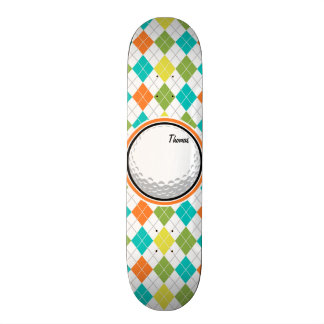 Golf Ball; Colorful Argyle Pattern Skateboard Deck