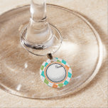 Golf Ball; Colorful Argyle Pattern Wine Charms