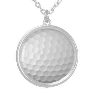 Golf Ball Dimples Texture Pattern 2 Round Pendant Necklace