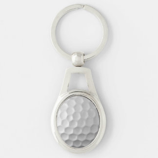 Golf Ball Dimples Texture Pattern Silver-Colored Oval Metal Keychain