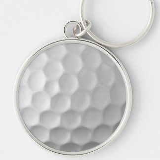 Golf Ball Dimples Texture Pattern Silver-Colored Round Keychain