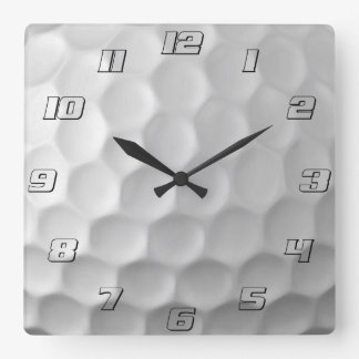Golf Ball Dimples Texture Pattern with numbers Square Wall Clock