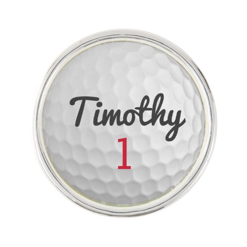 Golf Ball Dimples with Black Name Red Number Lapel Pin