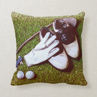 Golf ball  glove and shoes are on green grass throw pillow