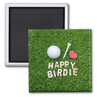 Golf ball Happy Birdie with love for golfer Favor Magnet