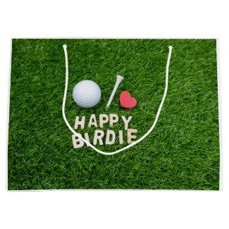 Golf ball Happy Birdie with love for golfer Large Gift Bag