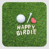 Golf ball Happy Birdie with love for golfer Square Sticker