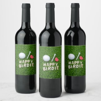 Golf ball Happy Birdie with love for golfer Wine Label