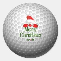 Golf Ball Holiday Design, Merry Christmas Classic Round Sticker