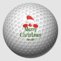 Golf Ball Holiday Design, Merry Christmas Classic Round Sticker