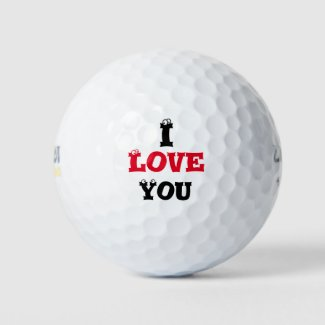 Golf ball I Love you with funny face on letters