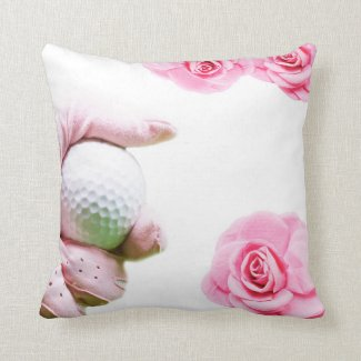 Golf ball in hand with Pink roses goler Throw Pillow
