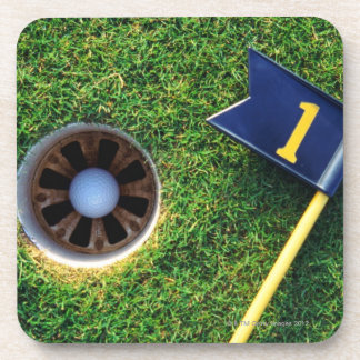 golf ball in hole beverage coaster