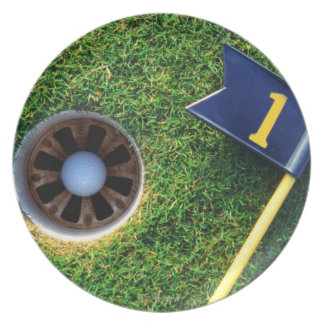 golf ball in hole melamine plate
