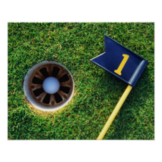 golf ball in hole poster