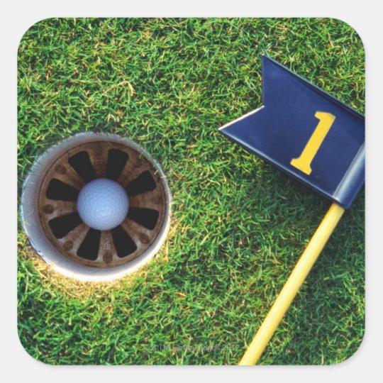 golf ball in hole square sticker