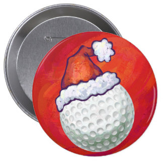 Golf Ball in Santa Hat on Red Button