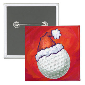 Golf Ball in Santa Hat on Red Pinback Button