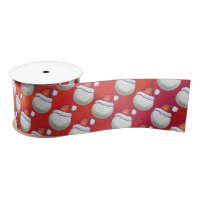 Golf Ball in Santa Hat Pattern on Red Satin Ribbon