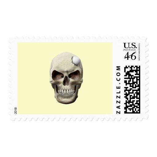 Golf Ball in Skull Postage Stamps