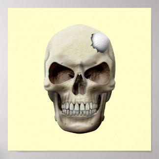 Golf Ball in Skull Poster