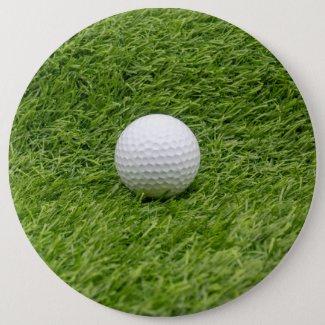 Golf ball is on green grass golf ball marker button