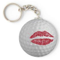 Golf ball - kiss keychain