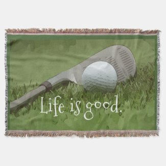 Golf ball life is good with golf ball and iron throw blanket