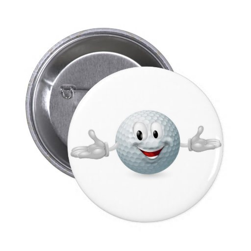 Golf Ball Mascot Button