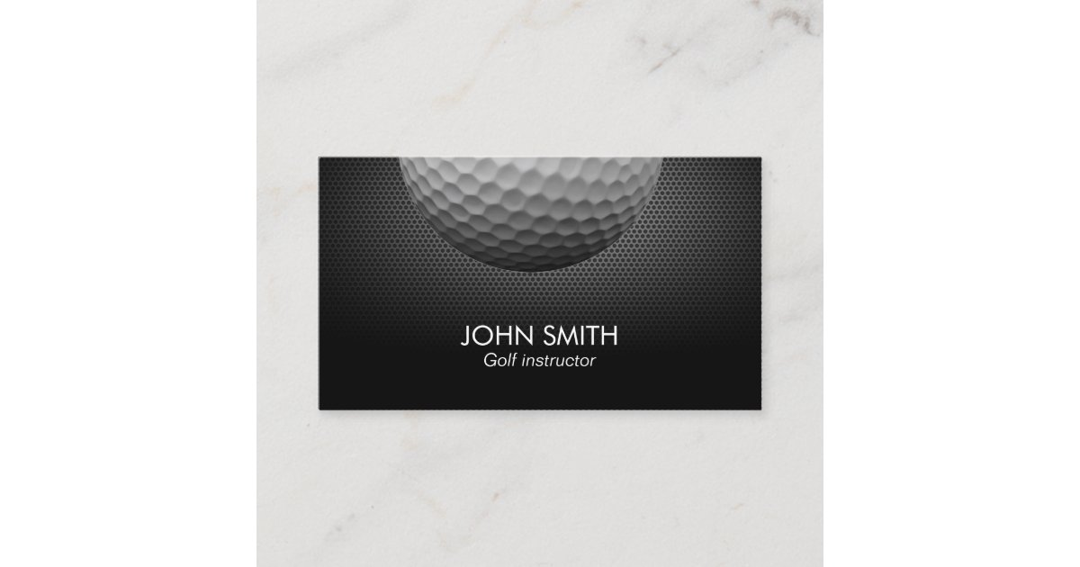Golf Ball Metal Background Professional Golf Business Card | Zazzle.com