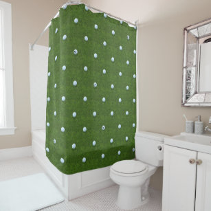 Golf Ball Monogram Grass Green Shower Curtain