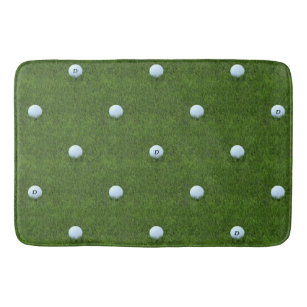 Golf Ball Monogram Green Grass Bath Mat