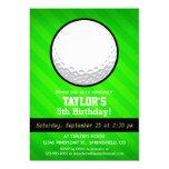 Golf Ball; Neon Green Stripes 5x7 Paper Invitation Card