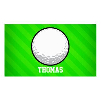 Golf Ball; Neon Green Stripes Business Card