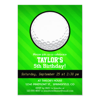 Golf Ball; Neon Green Stripes Card