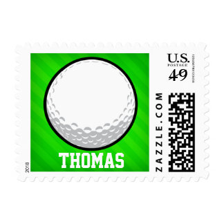Golf Ball; Neon Green Stripes Postage