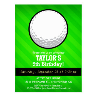 Golf Ball; Neon Green Stripes Postcard