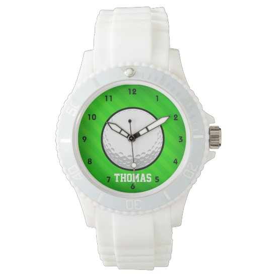Golf Ball; Neon Green Stripes Wristwatch