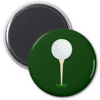 Golf Ball on a Tee 2 Inch Round Magnet