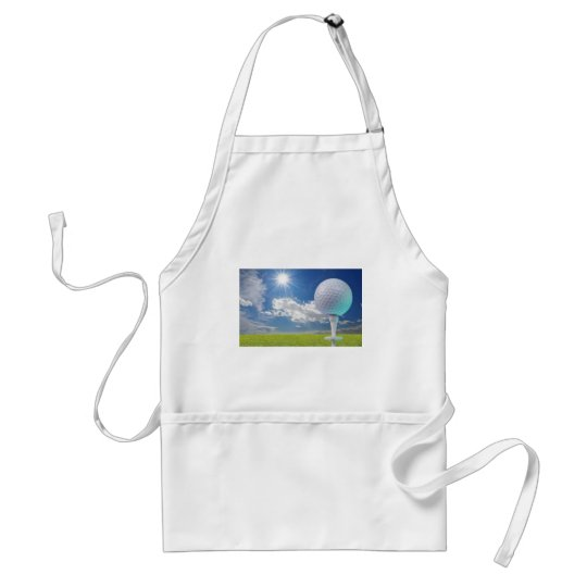 golf ball on a tee with grass adult apron