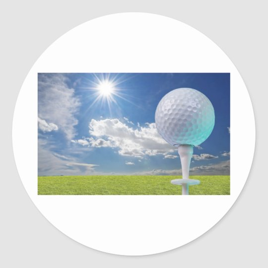 golf ball on a tee with grass classic round sticker