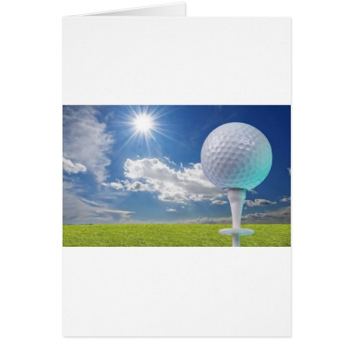 golf ball on a tee with grass greeting card