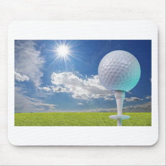 golf ball on a tee with grass mouse pad