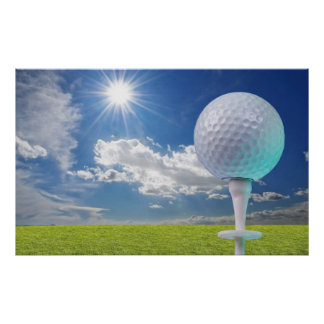 golf ball on a tee with grass poster
